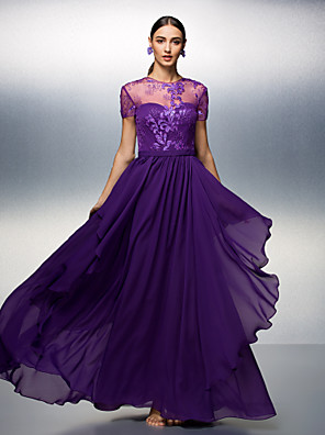 ts couture® vestido de noite formal plus size / bainha / coluna jóia tencel andar de comprimento petite com rendas
