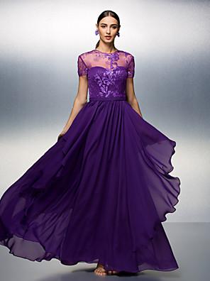 TS Couture® Dress Plus Size / Petite Sheath / Column Jewel Floor-length Tencel with Lace