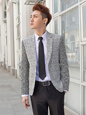 černá&stříbrné vzory slim fit smoking z polyesteru