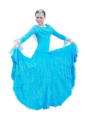 Dança de Salão Roupa / Vestidos Mulheres Actuação / Treino Algodão mercerizado Lantejoulas Luva de comprimento de 3/4
