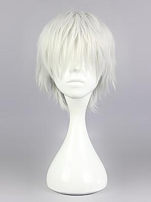 Cosplay Paruky Tokyo Ghoul Ken Kaneki Stříbro Short / Rovné Anime Cosplay Paruky 30 CM Horkuvzdorné vlákno Pánský