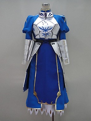 Inspirovaný Fate/zero Saber Video Hra Cosplay Kostýmy Cosplay šaty / Šaty Patchwork Niebieski Dlouhé rukávyNáprsník / K šatům / Rukavice