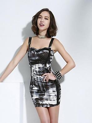 Women's Club Dress,Print Above Knee Sleeveless Multi-color Cotton / Spandex All Seasons / Spring / Summer / Fall / Winter