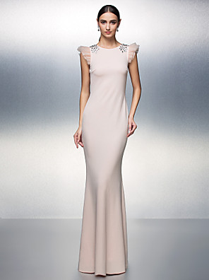 フォーマルなイブニングドレスプラスサイズ/クリスタルディテールと小柄なシース/列ジュエル床の長さのジャージcouture®TS