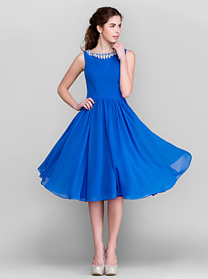 Lanting Bride® Ke kolenům Šifón Šaty pro družičky A-Linie / Princess Klenot Větší velikosti / Malé s Křišťály