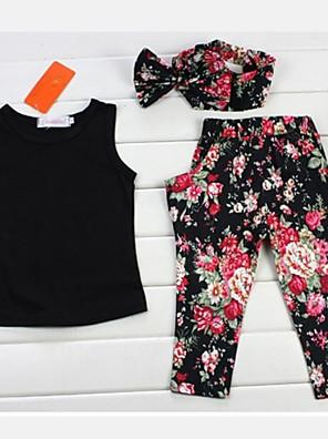 Ensemble de Vêtements Fille de Fleur Mélange de Coton Printemps / Automne Noir