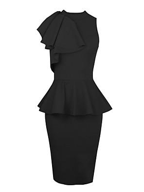 preta gola redonda puro patchwork das mulheres ruffle vestido midi magro