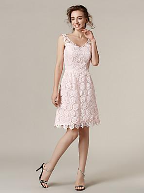 Lanting Bride® Ke kolenům Krajka Šaty pro družičky A-Linie Do V Větší velikosti / Malé s