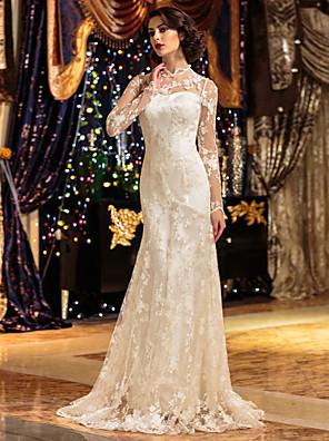 Lanting novia una línea pequeña / más tamaños de boda del vestido de barrido / cepillo tren encaje de cuello alto