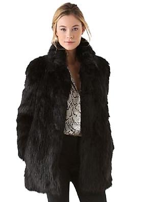 Dámské Jednobarevné Velké velikosti / Jdeme ven Šik ven Kožich-Umělá kožešina / Bavlna / Polyester Zima Dlouhý rukáv Černá Tlusté