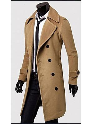 Romeo férfi egyszínű hajtókáján nyak dupla mell tweed kabátot