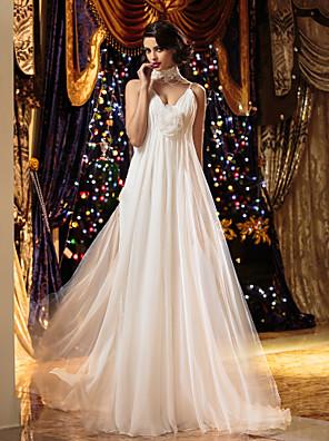 Lanting Bride® Tubinho Pequeno / Tamanhos Grandes Vestido de Noiva Longo Com Alças Finas Chiffon com