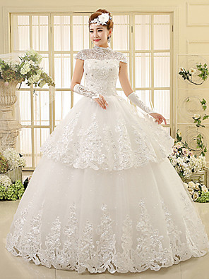 Ball Gown Wedding Dress Floor-length High Neck Lace with
