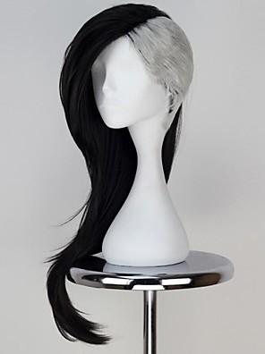 tokyo ghoul uta maske maker lang bølget sort med sølvfarvede farve anime cosplay paryk