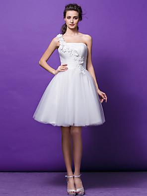 Lanting Bride® נשף קטן שמלת כלה  באורך  הברך כתפיה אחת טול עם