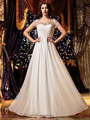 Lanting Bride® Linha A Pequeno / Tamanhos Grandes Vestido de Noiva Transparências Longo Decote em U Chiffon com