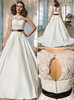 Lanting Bride® Linha A / Princesa Pequeno / Tamanhos Grandes Vestido de Noiva - Clássico e atemporal / Elegante e Luxuoso Sem costas Longo
