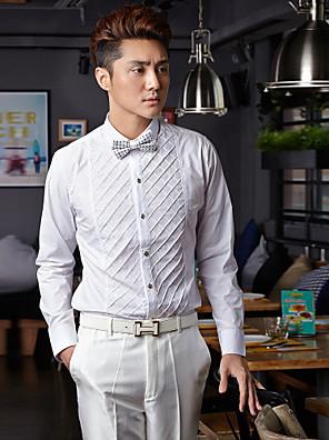 חולצה - קלאסי (חצי מפוזר) - Yksivärinen - שרוולים ארוכים ( לבן , כותנה/פוליאסטר )