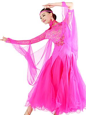 ריקודים סלוניים שמלות בגדי ריקוד נשים ביצועים ספנדקס / תחרה / טול חלק 1 שמלות S=130,M=132,L=135,XL=135,XXL=138