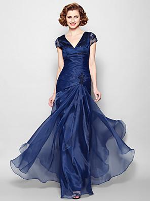Lanting Bride® A-Linie Větší velikosti / Malé Šaty pro matku nevěsty Na zem Krátký rukáv Organza - Aplikace / Korálky / Krajka / Křížení