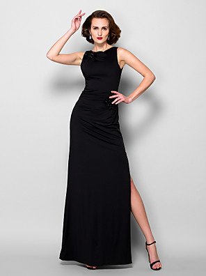Lanting Bride® Pouzdrové Větší velikosti / Malé Šaty pro matku nevěsty Na zem Bez rukávů Úplet - Korálky / Rozparek vpředu
