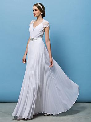 몸집이 작은 A 라인 신부 lanting / 플러스 웨딩 드레스 층 길이의 V 넥 쉬폰 크기