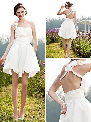 Lanting Bride® גזרת A / נסיכה קטן / מידה גדולה שמלת כלה - שיק ומודרני / לקבלת פנים שקוף קצר \ מיני כתפיה אחת טפטה עם