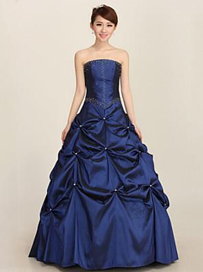ערב רישמי שמלה נשף סטרפלס באורך הקרסול סאטן עם נצנצים / קפלים