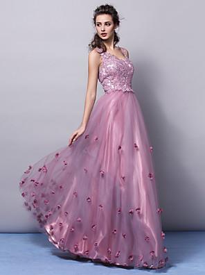 ts couture® רשמית הערב השמלה גודל פלוס / קטן א-קו / נסיכה צווארון V טול באורך הרצפה עם אפליקציות / פרח (ים)
