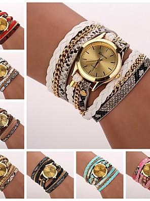 Dames Modieus horloge / Armbandhorloge Kwarts Mat zwart PU Band Vrijetijdsschoenen Zwart / Wit / Blauw / Rood / Roze Merk