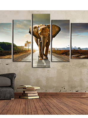 דואר home® נמתח הליכה אמנות בד על הכביש של סט הציור דקורטיבי פיל 5