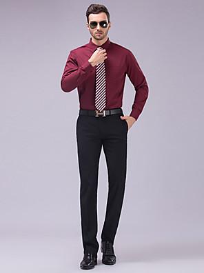 חולצה - קלאסי (חצי מפוזר) - Yksivärinen - שרוולים ארוכים ( שחור/ורוד/לבן/אדום כהה/כחול סקיי/כחול ים , כותנה/פוליאסטר )