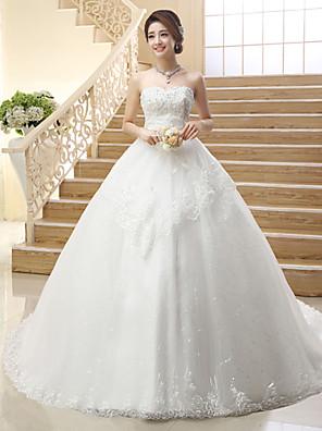 Princesa Vestido de Noiva Cauda Corte Tomara que Caia Tule com Paetês / Bordado