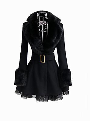 deluxe langermet svart pels krage classic lolita frakk