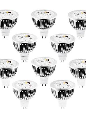 4W GU5.3(MR16) LED-spotlampen MR16 4 Krachtige LED 360-400 lm Warm wit / Koel wit / Natuurlijk wit Dimbaar DC 12 / AC 12 V 10 stuks