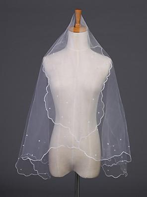 Bryllupsslør En-lags Albue Slør Perlebeskæret Kant 59,06 i (150cm) Tyl Hvid / Elfenben Hvid / Elfenben