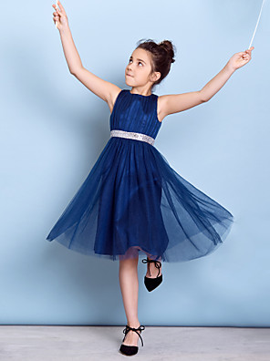 Knee-length Tulle Junior Bridesmaid Dress A-line Jewel with Draping / Sash / Ribbon / Sequins