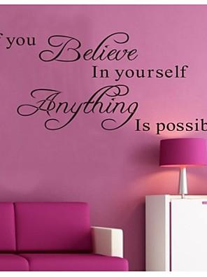 להאמין בעצמך zooyoo8037 קיר ויניל מדבקה נשלפת דקורטיבית קיר ציטוט מדבקת עיצוב הבית