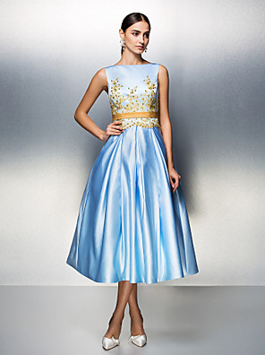 TS Couture® Family Gathering / Company Party Dress - 1950s Plus Size / Petite Ball Gown Bateau Tea-length Satin with Appliques / Beading