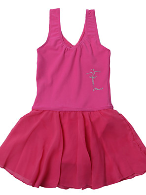 """בלט שמלות בגדי ריקוד ילדים ביצועים שיפון / Chinlon עטוף חלק 1 בלי שרוולים שמלותinch:L(4A):17.5"""" ,XL(6A):18.5"""",XXL(8A): 20.0"""",3XL(10A):"""