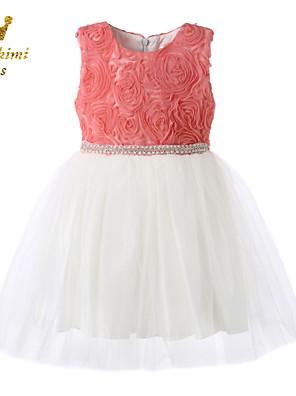 Girl White Pink Grenadine Applique Sleeveless Holiday Dress