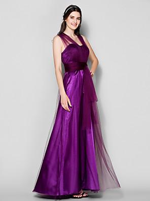 Lanting Bride® Longo Tule Vestido Convertível Vestido de Madrinha - Linha A Tamanhos Grandes / Mignon com Drapeado Lateral / Franzido