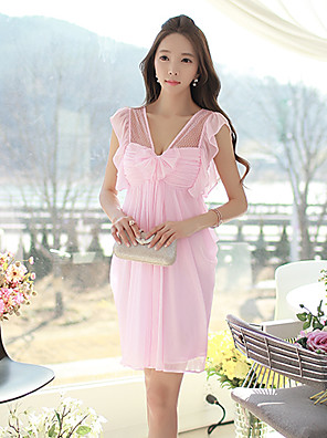 Pink Doll®Women's V Neck Party/Sexy/Lace Bow Sleeveless Dress