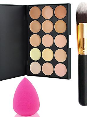 pro parti 15 farver kontur ansigtscreme makeup concealer palet + pulver pensel + power puff