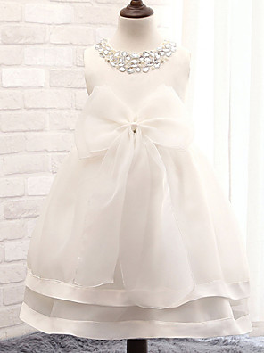 Ball Gown Tea-length Flower Girl Dress - Cotton / Tulle / Sequined / Polyester Sleeveless Jewel with