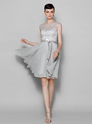 Lanting Bride® Ke kolenům Šifón / Krajka Šaty pro družičky - A-Linie Bateau Větší velikosti / Malé s Krajka
