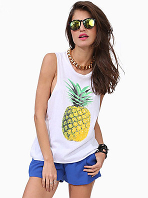 Women's Casual/Daily Simple Summer Tank Top,Print Round Neck Sleeveless White Thin