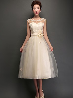 Tea-length Tulle Bridesmaid Dress - Lace-up A-line Jewel with Appliques / Lace