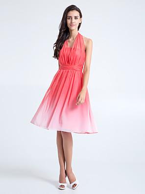 Lanting Bride® באורך  הברך שיפון צבע מדורג שמלה לשושבינה - גזרת A קולר פלאס סייז (מידה גדולה) / פטיט עם