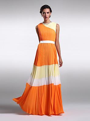 Lanting Bride® Na zem Šifón Šaty pro družičky - Barevné bloky Pouzdrové Klenot Větší velikosti / Malé s Nabírání